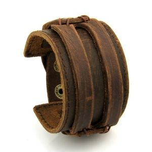 Other - Brown Leather Cuff Bracelet Wristband Snap Unisex